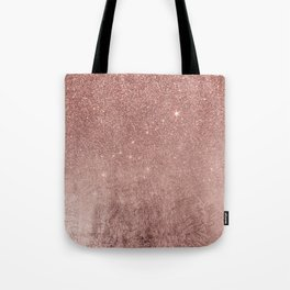 Girly Glam Pink Rose Gold Foil and Glitter Mesh Tote Bag