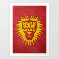 tyrion Art Prints featuring House Lannister - Hear Me Roar by Jack Howse