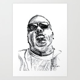 Digital Drawing 33 - Notorious B.I.G. Black and White Art Print
