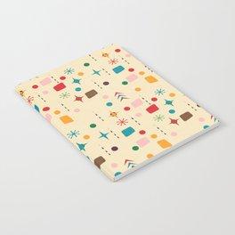 Atomic Pattern Beige Red  #midcenturymodern Notebook
