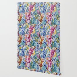 Abstract floral painting Wallpaper