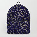 Gold Berry Branches on Navy by catcoq