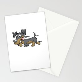 HAPPY RUNNING DACHSHUND Sausage Dog Stationery Cards