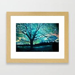 Surreal Gothic Haunting Trees Nature Aqua Blue Infrared Nature Landscape Framed Art Print