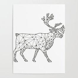 Caribou Side Nodes Black and White Poster