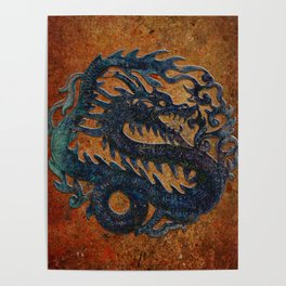 Blue Chinese Dragon on Stone Background Poster