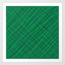 Wicker ornament of their blue threads and green intersecting fibers. Art Print