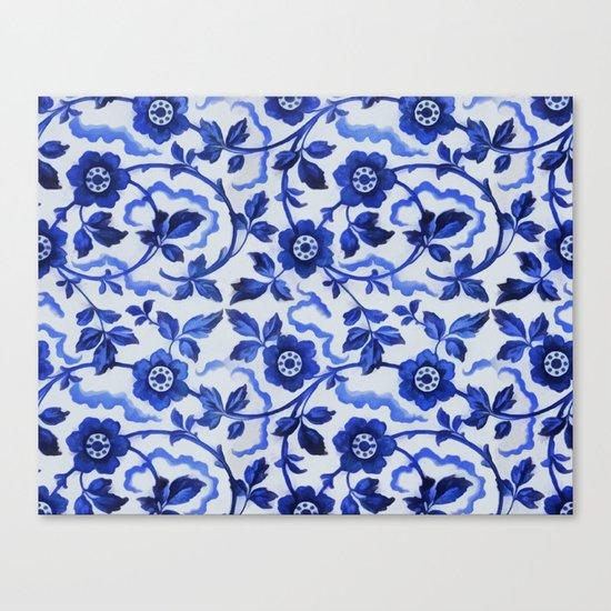 Azulejos blue floral pattern Canvas Print