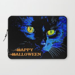 Black Cat Portrait with Happy Halloween Greeting  Laptop Sleeve