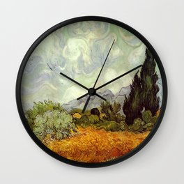 Vincent van Gogh's Wheat Field with Cypresses Wall Clock