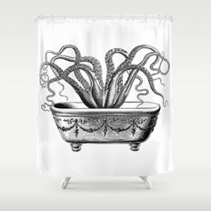 Tentacles in the Tub   Octopus   Black and White Shower Curtain
