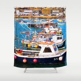 St Ives Harbour Shower Curtain