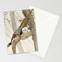 Pheasant flying down from the tree - Vintage Japanese woodblock print art Stationery Cards