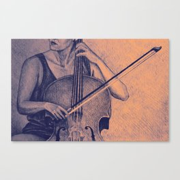 Cello player drawing. Canvas Print