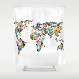 Floral World Map Shower Curtain