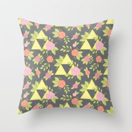 Garden of Power, Wisdom, and Courage Pattern in Grey Throw Pillow