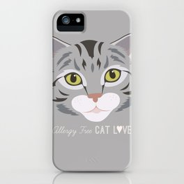 Allergy Free Cat Love: Silver Tabby iPhone Case