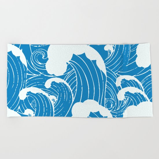 waves after waves Beach Towel