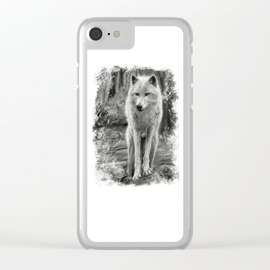 White Wolf in the Forest Clear iPhone Case