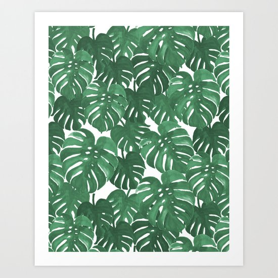 Monstera house plant leaf green painting pattern trendy hipster indoor house plant tropical garden   Art Print