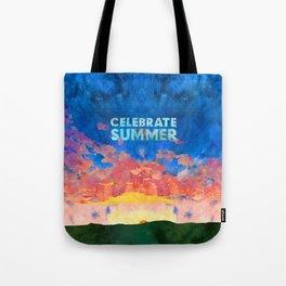 Celebrate Summer Sunrise Scene Watercolor Painting Tote Bag