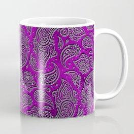 Silver embossed Paisley pattern on purple glass Coffee Mug