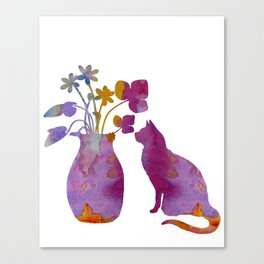 Cat and flowers Canvas Print