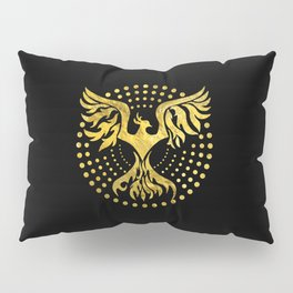 Gold Decorated Phoenix bird symbol Pillow Sham