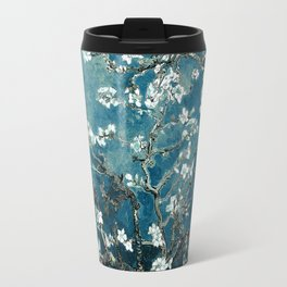 Van Gogh Almond Blossoms : Dark Teal Travel Mug