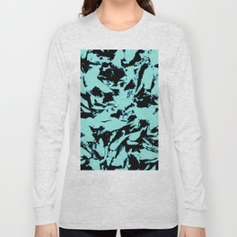 Turquoise Black Abstract Military Camouflage Long Sleeve T-shirt