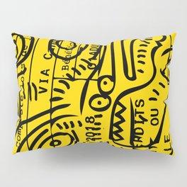 Yellow Street Art Graffiti Train Ticket Pillow Sham