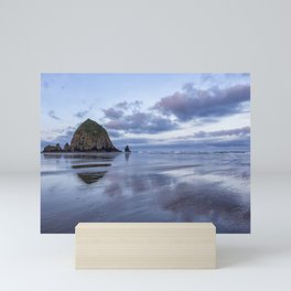 Haystack Rock at Low Tide in Early Morning Mini Art Print