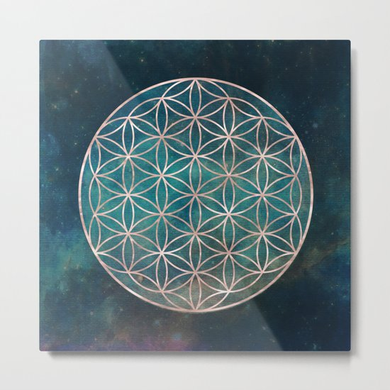 Mandala Flower of Life Rose Gold Space Stars Metal Print