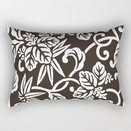 Espresso Brown Japanese Leaf Pattern Rectangular Pillow