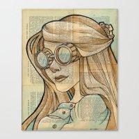 hallion Canvas Prints featuring Iron Woman 1 by Karen Hallion Illustrations