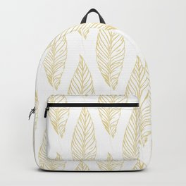 Golden Feathers Pattern Backpack