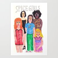 spice girls Art Prints featuring The Spice Girls by Angela Dalinger