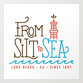 From Silt to Sea | Long Beach California Tribute | From Oil Workers to Surfers Art Print