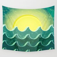 milan Wall Tapestries featuring Sun and sea by Katherine Paulin