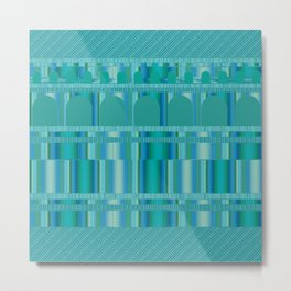 Blue Green Arches and Stripes Pattern Metal Print
