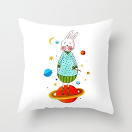 Farm animals in space - Bunny Throw Pillow