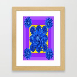 Purple Shades Pattern  Blue Dahlias Abstract Art Framed Art Print