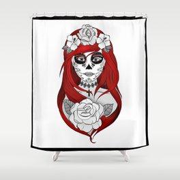 Santa Muerte Red Shower Curtain