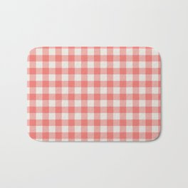 Modern red white classic 80s picnic pattern Bath Mat