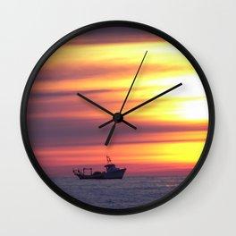 Fishing Boat At Sunrise Wall Clock