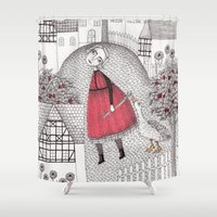 jazzberry Shower Curtains featuring The Old Village by Judith Clay