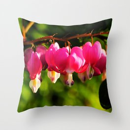 Pink Bleeding Hearts After an Evening Sun Shower Throw Pillow