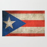 puerto rico Area & Throw Rugs featuring Old and Worn Distressed Vintage Flag of Puerto Rico by Jeff Bartels