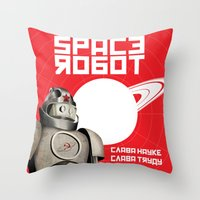 soviet Throw Pillows featuring Retro Soviet minimalism spacerobot   by Cardula