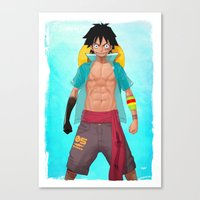 luffy Canvas Prints featuring Luffy by Yvan Quinet